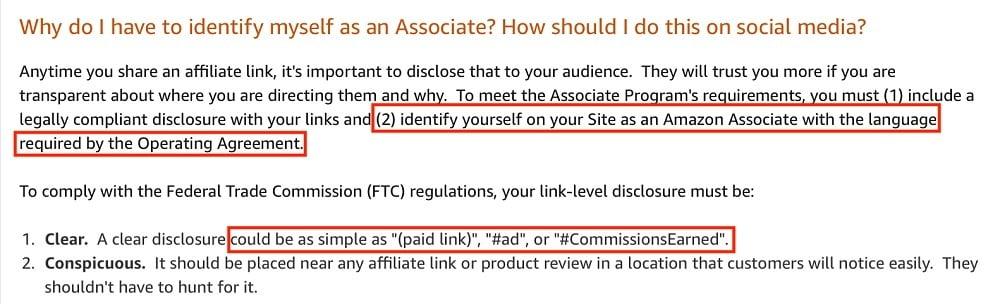 Amazon Associates Help: Identifying yourself as an associate on social media section