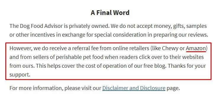 The Dog Food Advisor blog: Affiliate disclaimer