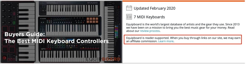 Equipboard blog article with affiliate disclaimer highlighted