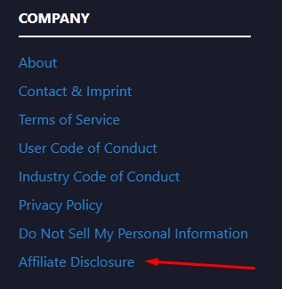PCPartPicker website footer with Affiliate Disclosure link highlighted