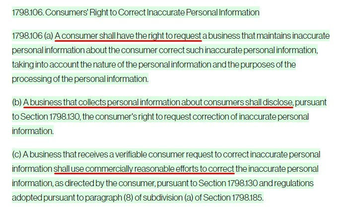 Transcend: CPRA Section 1798 106 - Consumers Right to Correct Inaccurate Personal Information