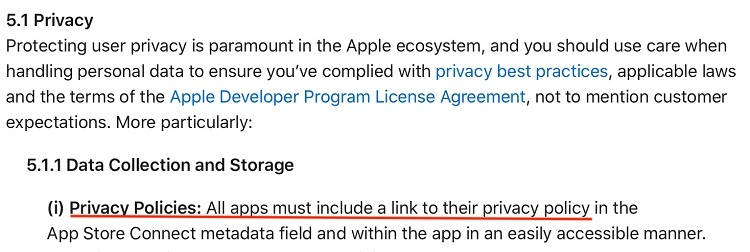 Apple App Store Review Guidelines: Legal section - Privacy - Data Collection and Storage - Privacy Policies requirement highlighted