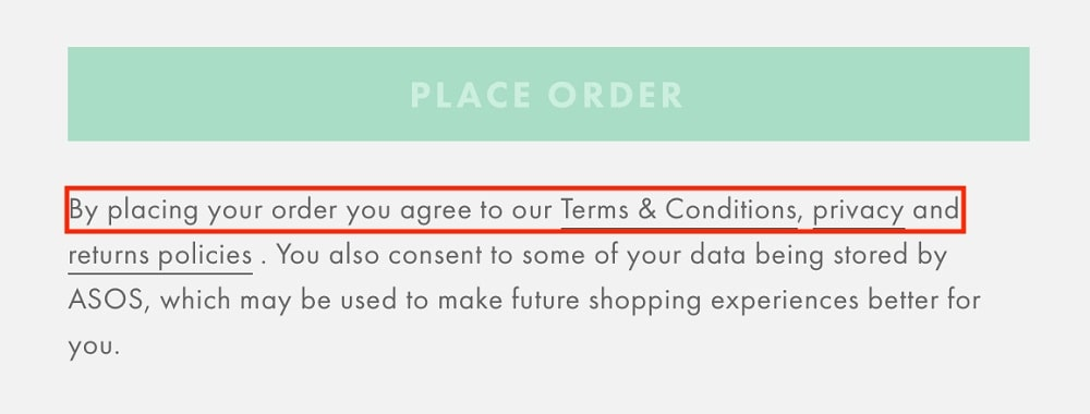 ASOS checkout form with legal agreements highlighted