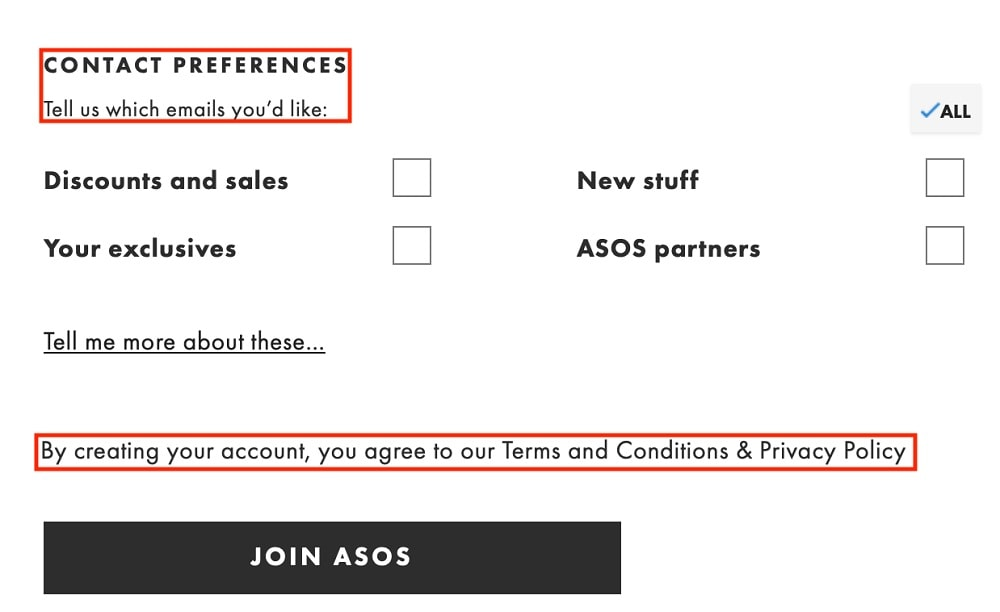 ASOS create an account form with contact preferences and legal agreements highlighted