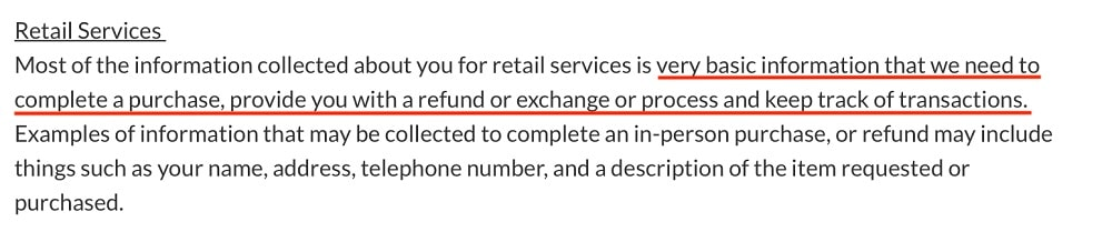 Canadian Tire Privacy Policy: Why do we need your personal information clause - Retail Services section