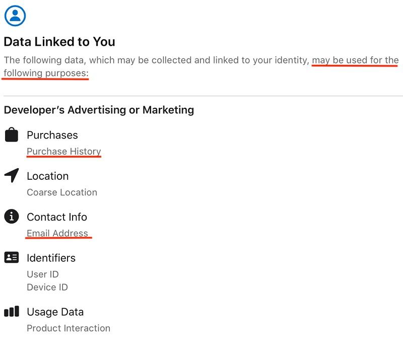 Disney Plus Apple app Privacy Nutrition Label: Details link screen