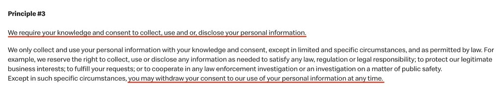 McDonalds Privacy Policy and Principles: Principle 3 - Consent clause