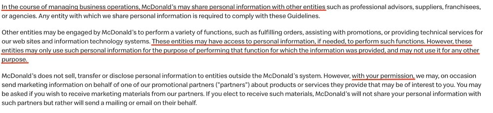 McDonalds Privacy Policy and Principles: Principle 5 - Limit the use and disclosing of personal information clause