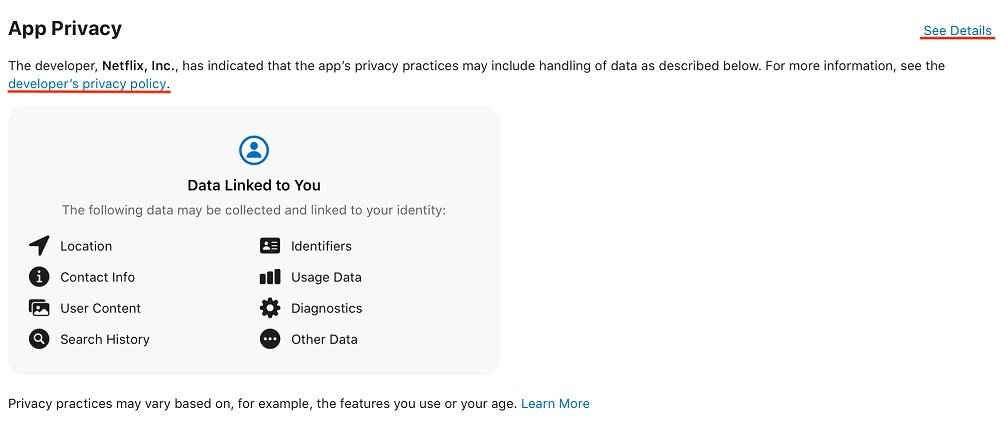 Netflix Apple app Privacy Nutrition Label with Privacy Policy link highlighted