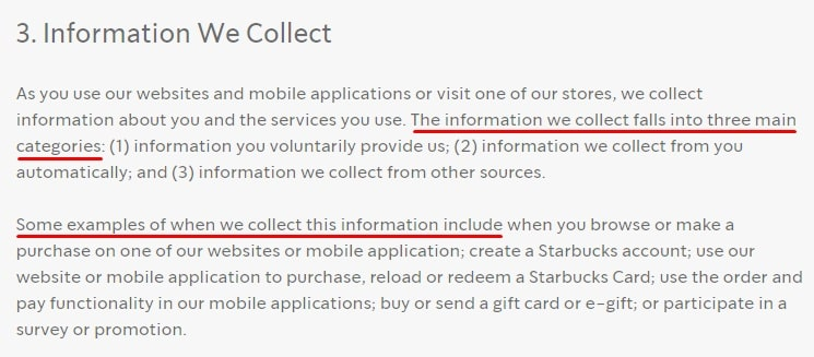 Starbucks Privacy Policy: Information We Collect clause