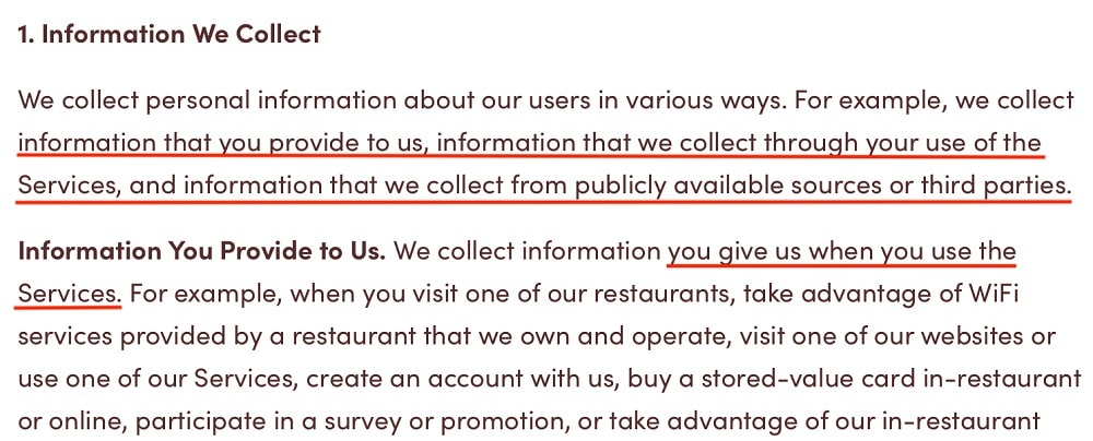 Tim Hortons Privacy Policy: Information We Collect clause