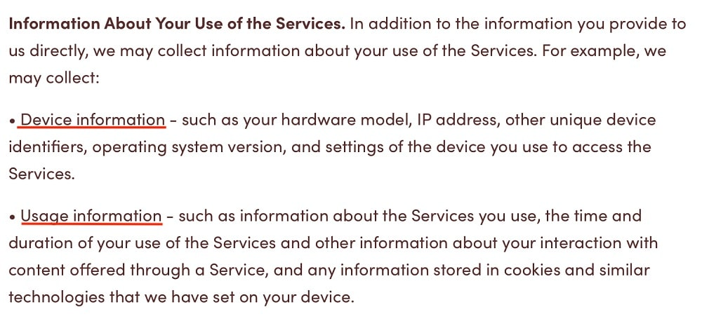 Tim Hortons Privacy Policy: Information Collected About Your Use of the Services clause
