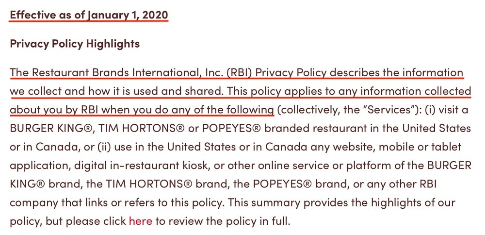Tim Hortons Privacy Policy: Introduction clause and effective date