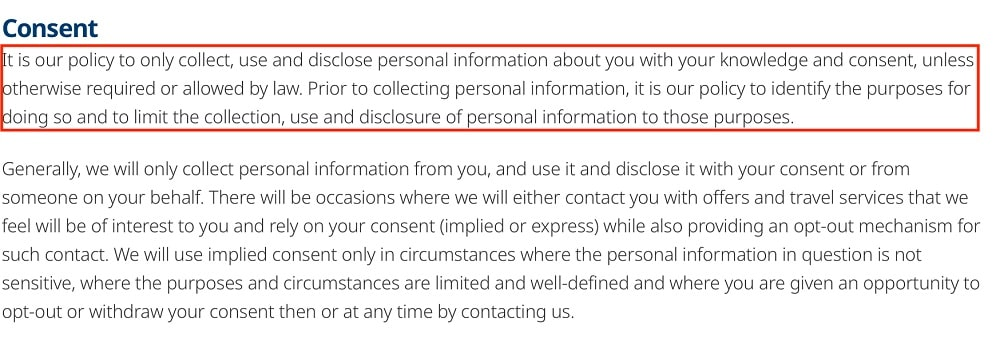 WestJet Privacy Policy: Consent clause