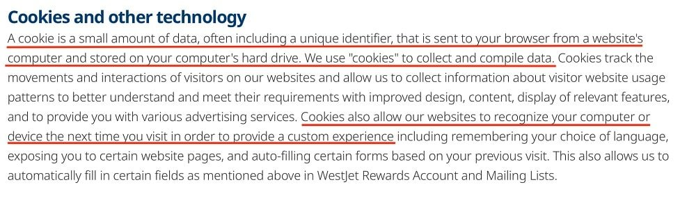 WestJet Privacy Policy: Cookies and other technology clause - Definition and uses of cookies section