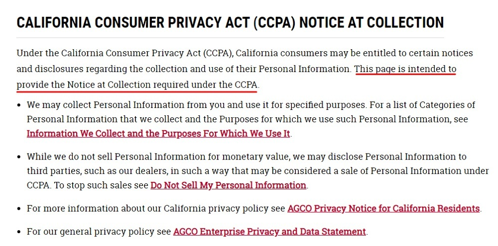 AGCO CCPA Notice at Collection