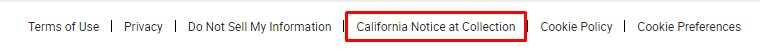 AGCO website footer with California Notice at Collection link highlighted