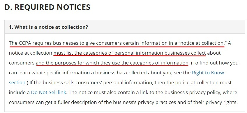 California Office of the Attorney General: CCPA - Required Notices - What is a notice at collection section