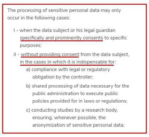 Ecomply: LGPD - Article 11 - Processing of Sensitive Personal Data section excerpt
