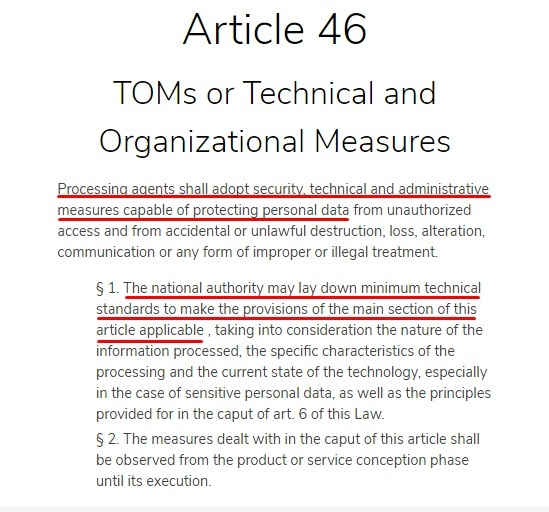 Ecomply: LGPD - Article 11 - Technical and Organizational Measures section