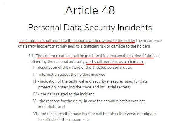 Ecomply: LGPD - Article 48 - Personal Data Security Incidents