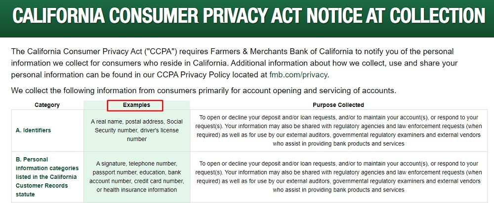 Farmers and Merchants Bank: CCPA Notice at Collection chart excerpt with Examples highlighted