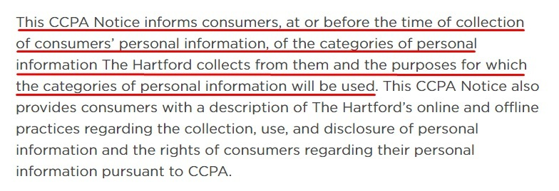 The Hartford CCPA Privacy Policy and Notice at the Time of Collection: Notice of Collection clause