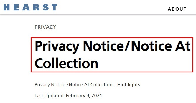 Hearst Privacy Notice and Notice at Collection agreement title