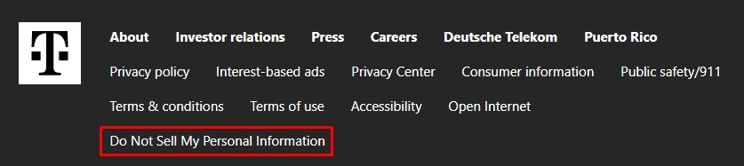 T-Mobile website footer with Do Not Sell My Personal Information link highlighted