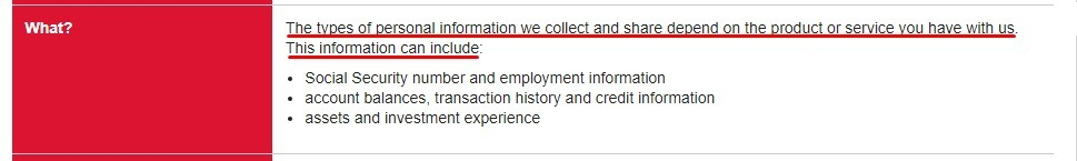 Bank of America US Consumer Privacy Notice: Summary of what types of personal information it collects and shares