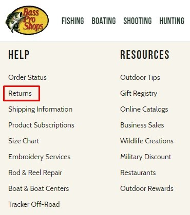 Bass Pro Shops website footer with Returns link highlighted