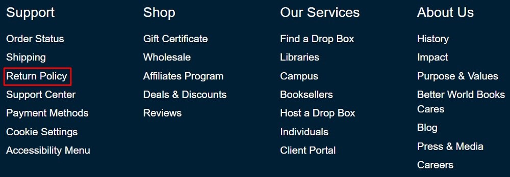 Better World Books website footer with Return Policy link highlighted