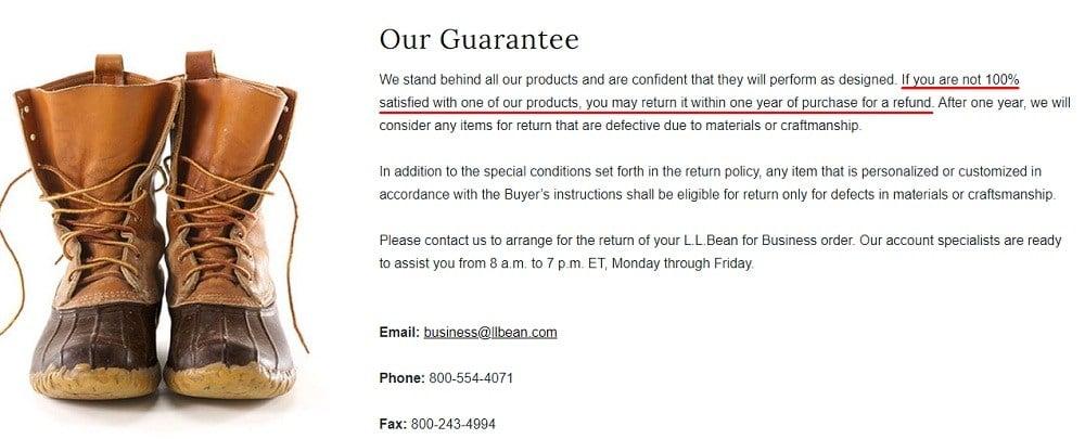 LL Bean Satisfaction Guarantee page screenshot