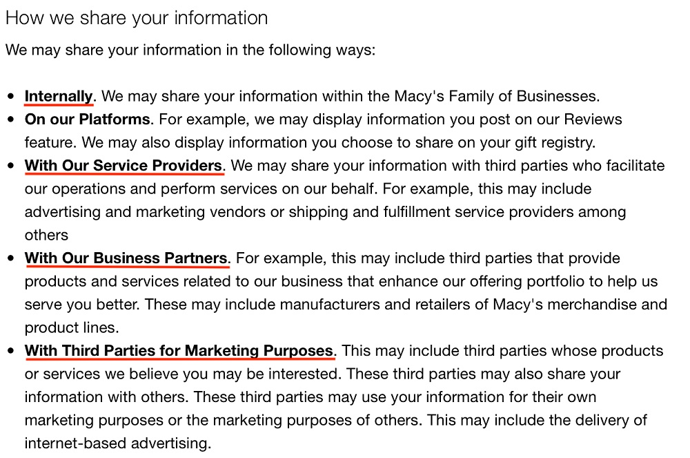 Macys Highlights of Notice of Privacy Practices: How we share your information clause
