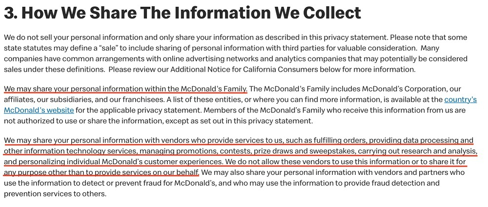 McDonalds Global Privacy Statement: How We Share The Information We Collect clause