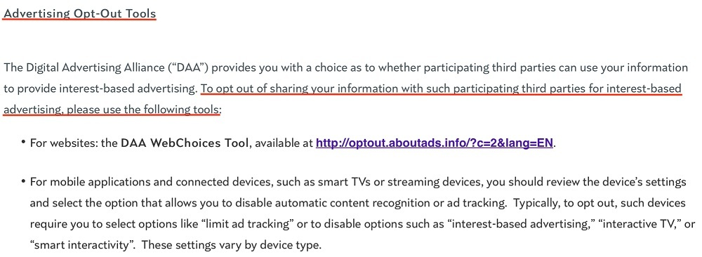 NBCUniversal Do Not Sell My Personal Information page: Advertising Opt-Out Tools section