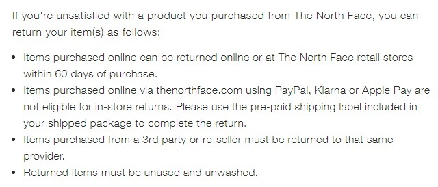 The North Face Return Policy: Return instructions list