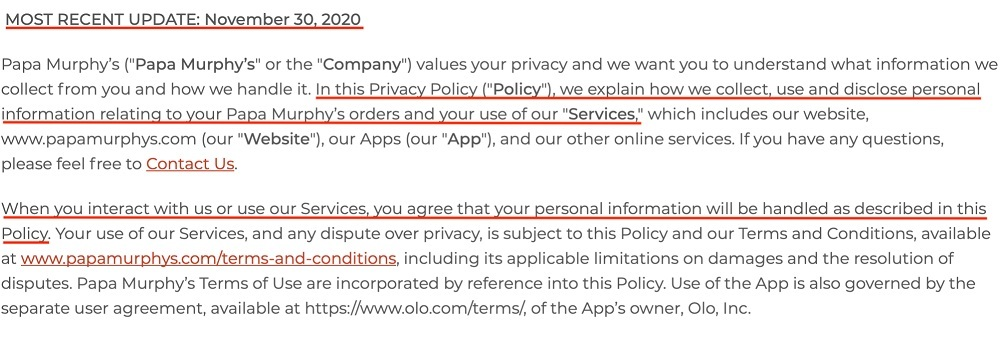 Papa Murphys Privacy Policy: Introduction section