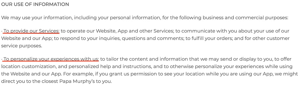Papa Murphys Privacy Policy: Our Use of Information clause