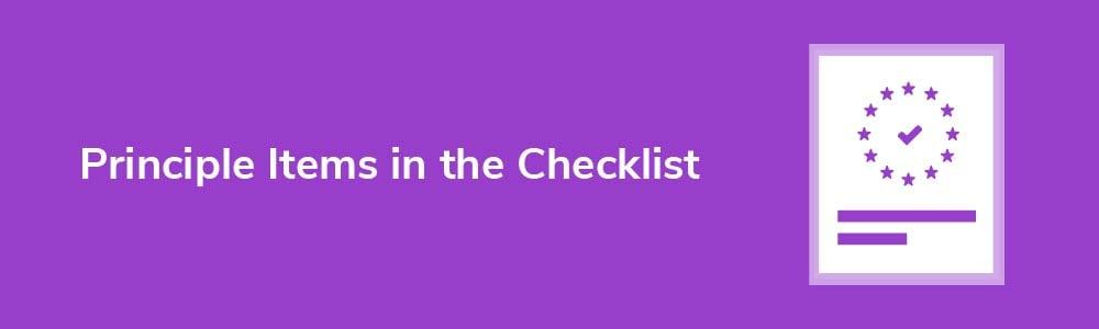 Principle Items in the Checklist