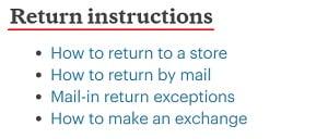REI Return Instructions - Methods links list