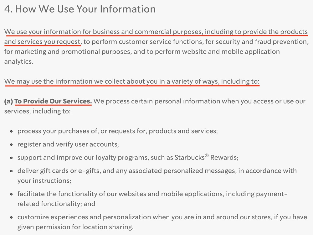 Starbucks Privacy Statement: How We Use Your Information clause