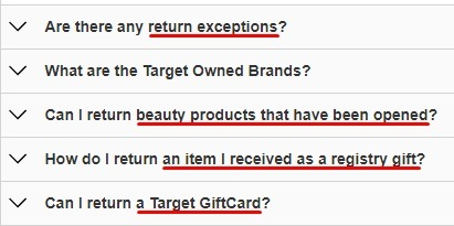 Excerpt of Target Returns Policy help page