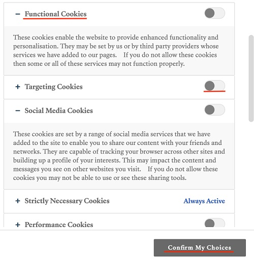 Teen Vogue cookie settings page