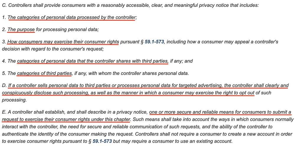 Virginia Legislative Information System: CDPA - Data controller responsibilities: Privacy Notice requirement