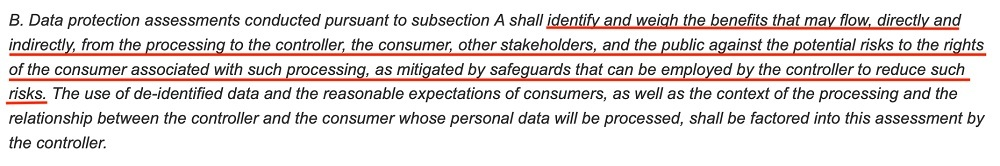 Virginia Legislative Information System: CDPA - Data Protection Assessments - Factors to consider section