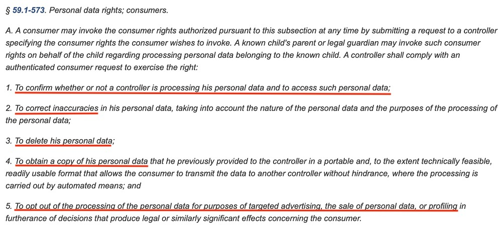 Virginia Legislative Information System: CDPA - Personal data rights: Consumers section