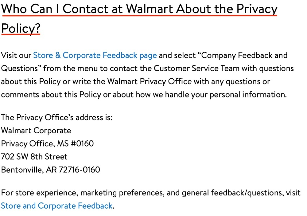 Walmart California Privacy Rights: Contact clause