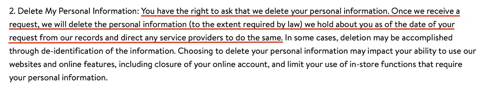 Walmart California Privacy Rights: Delete My Personal Information section