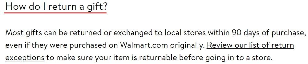 Walmart Help Center: How do I return a gift section